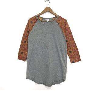 NWT LuLaRoe Randy Gray Orange Tribal Print T-Shirt